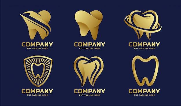 Colección de logotipos premium de cuidado dental de lujo para empresa