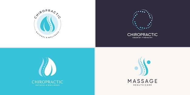 Colección de logotipos de quiropráctica con concepto de elemento creativo vector premium