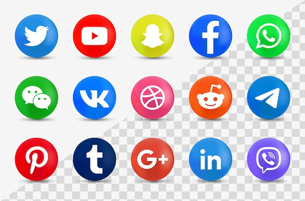 Colección de logotipos de redes sociales 3d - iconos 3d modernos redondos