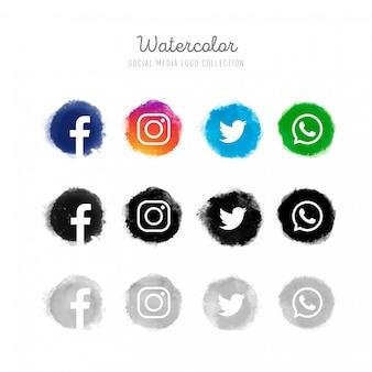 Colección de logotipos de redes sociales en acuarela