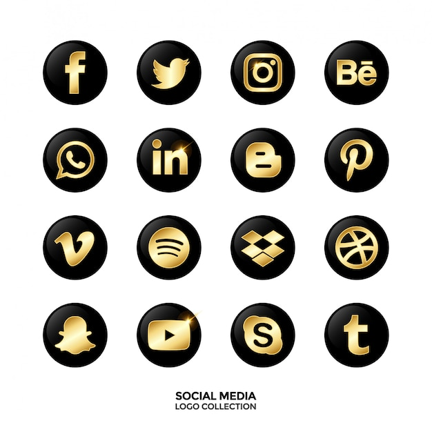 Colección de logotipos para redes sociales. color degradado dorado.