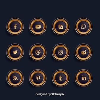 Colección de logotipos de redes sociales doradas y negras de lujo