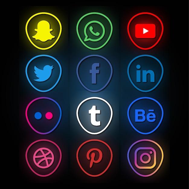 Colección de logotipos de redes sociales de estilo neón