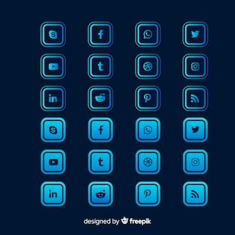 Colección de logotipos de redes sociales gradiente de forma cuadrada