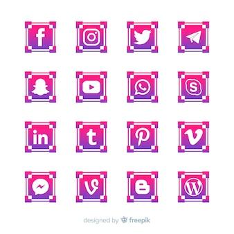 Colección de logotipos de redes sociales gradiente