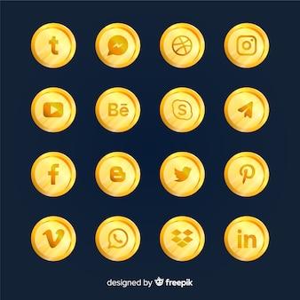 Colección de logotipos de redes sociales de lujo