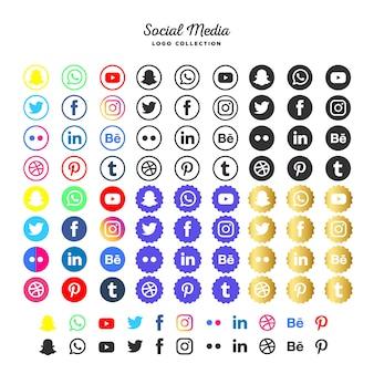Colección de logotipos de redes sociales.