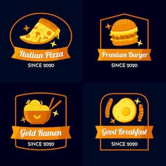 Colección de logotipos de restaurante de diseño dorado