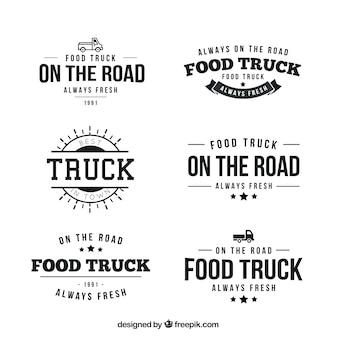 Colección de logotipos retro de camionetas de comida