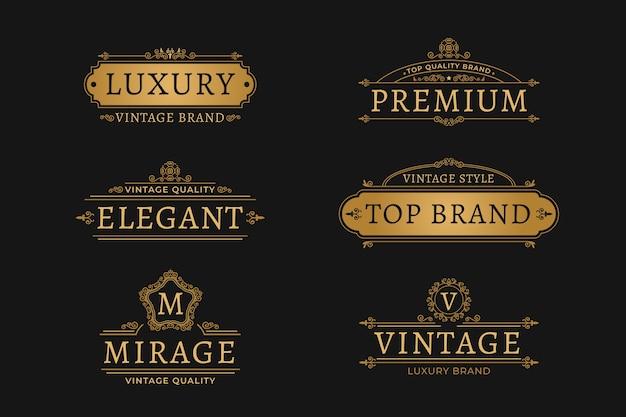 Colección de logotipos retro de lujo