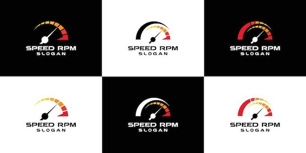 Colección de logotipos de rpm de velocímetro