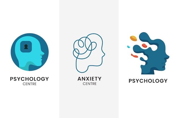 Colección de logotipos de salud mental en diseño plano