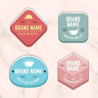 Colección de logotipos sobre fondo de mármol