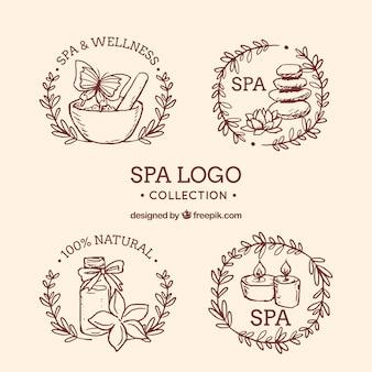 Colección de logotipos de spa dibujada a mano