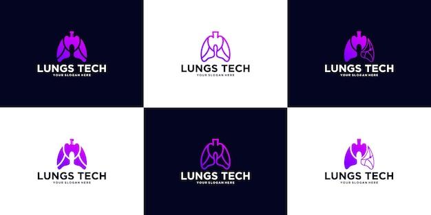 Una colección de logotipos de tecnología pulmonar.