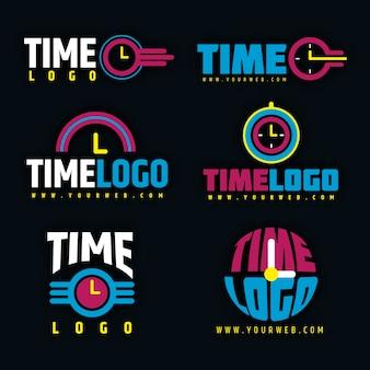 Colección de logotipos de tiempo de diseño plano