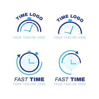 Colección de logotipos de tiempo plano