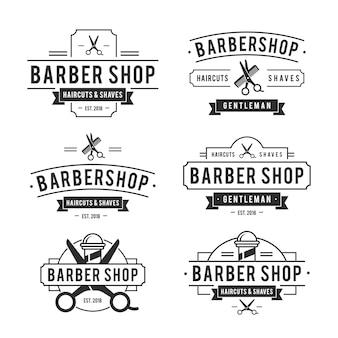 Colección de logotipos vintage de barbería