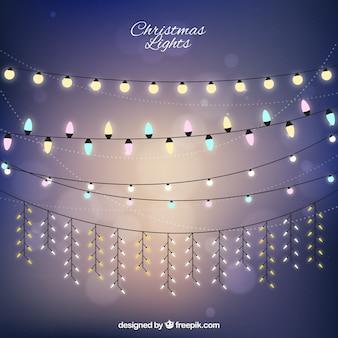 Colección de luces navideñas bonitas