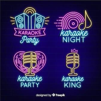 Colección de luces de neón con concepto de karaoke.