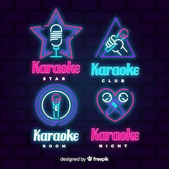 Colección de luces de neón de karaoke