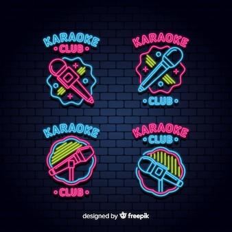Colección de luces de neón de karaoke.