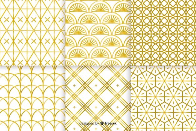 Colección de lujo de patrones geométricos dorados