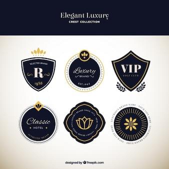 Colección de lujosos y elegantes escudos heráldicos