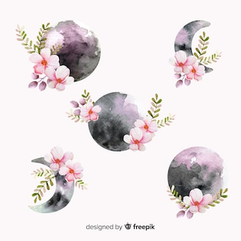 Colección de luna acuarela en tonos violetas