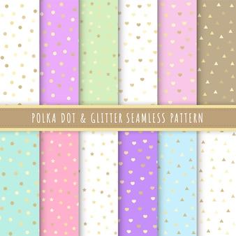 Colección de lunares y glitter de patrones sin fisuras en colores pastel.