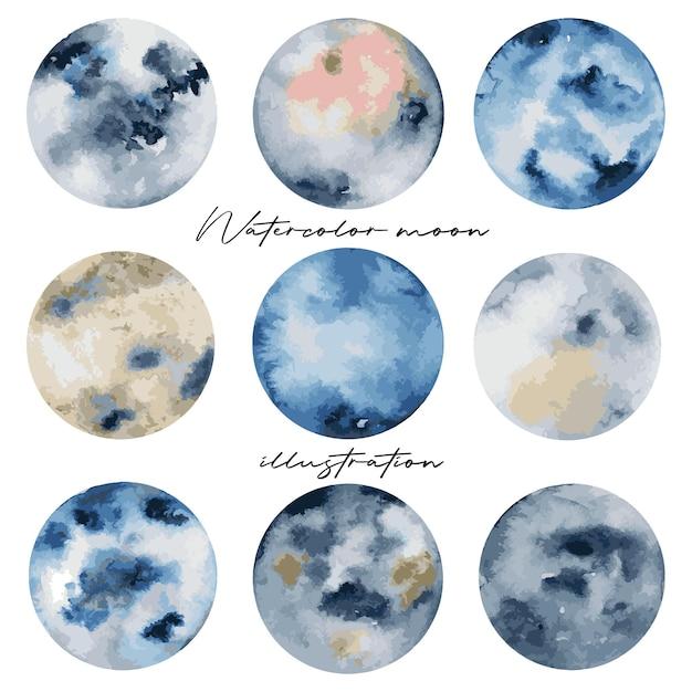 Colección de lunas llenas artísticas en acuarela