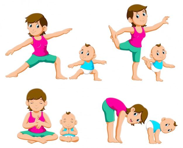 Colección de madres jóvenes y sus bebés haciendo ejercicios de yoga.
