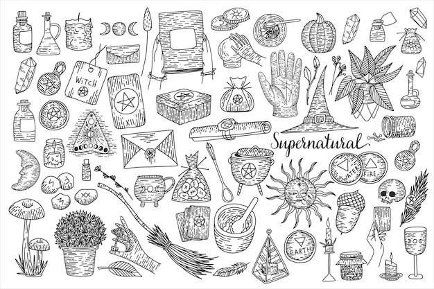 Colección de magia sobrenatural de elementos mágicos.