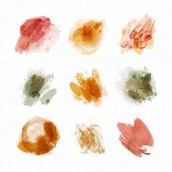 Colección de manchas de acuarela abstracta