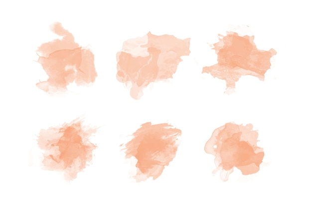 Colección de manchas de acuarela color melocotón