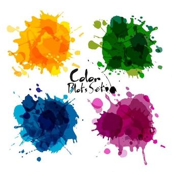 Colección de manchas en acuarela de colores