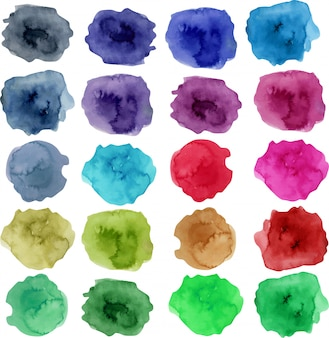 Colección de manchas de acuarela, elementos de colores brillantes.