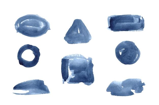 Colección de manchas de acuarela monocromáticas