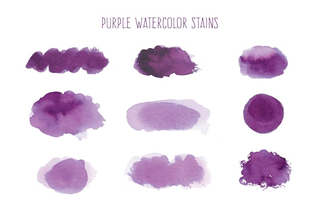 Colección de manchas de acuarela púrpura