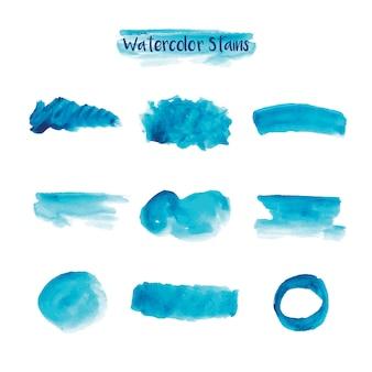 Colección de manchas azules de acuarela