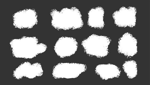 Colección de manchas de grunge abstracto blanco
