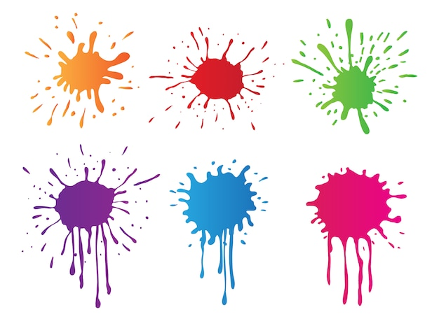 Colección de manchas de pintura a color