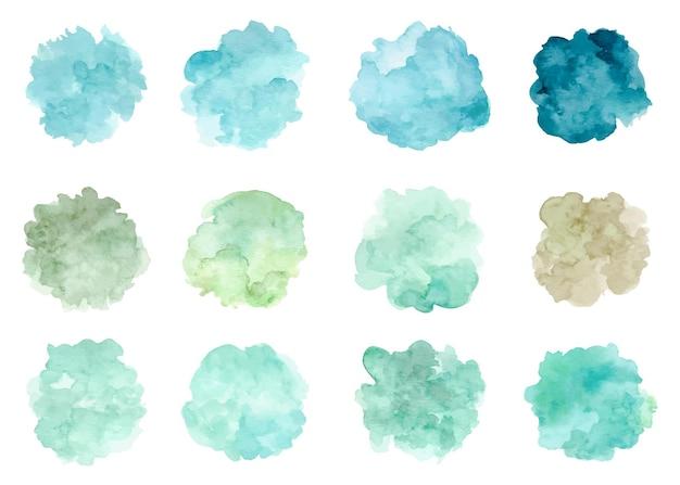 Colección de manchas verdes abstractas de acuarela