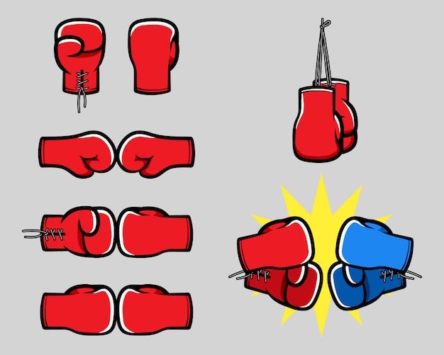 Colección de mano de dibujos animados de guantes de boxeo