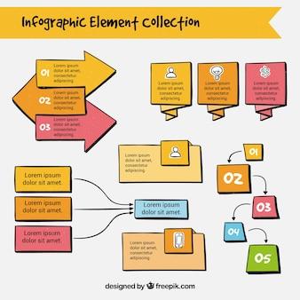 Colección a mano de elementos infográficos