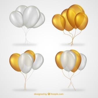 Colección de manojo de globos en dorado y blanco