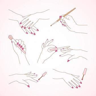 Colección de manos de manicura