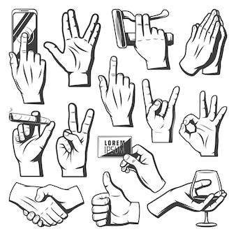 Colección de manos vintage con saludo saludo orando indican ok apretón de manos de cabra toque móvil copa de vino cigaro mantenga gestos aislados