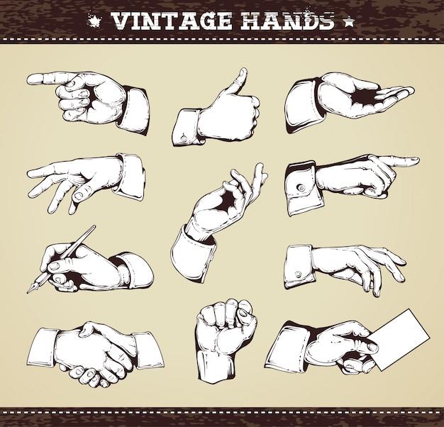 Colección de manos vintage