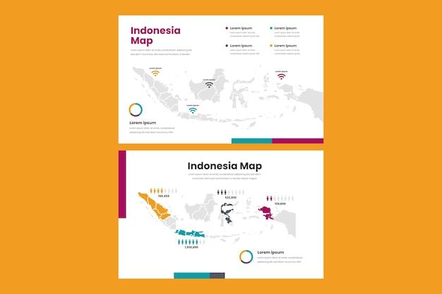 Colección de mapa de indonesia de infografía de diseño plano